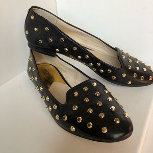 Michael Kors Ailee gold studded leather loafers